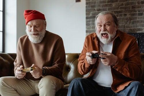 senior men play video games